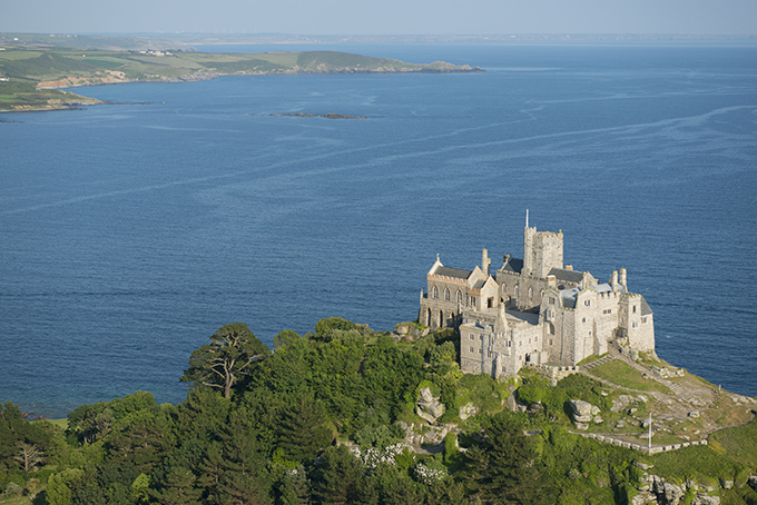 St Michaels Mount, a historic fortified building on a rocky outcrop in the Marazion bay, off the coast of Cornwall. Credit: VisitBritain