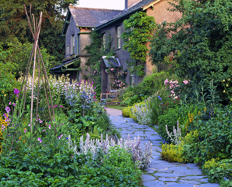 Herbaceous borders along the path leading to the front porch at Hill Top Farm. Credit: National Trust/Stephen Robson