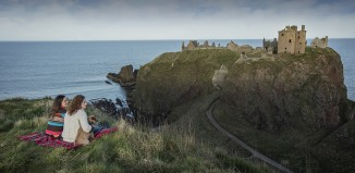 A picnic in front of Dunnottar Castle, Aberdeenshire