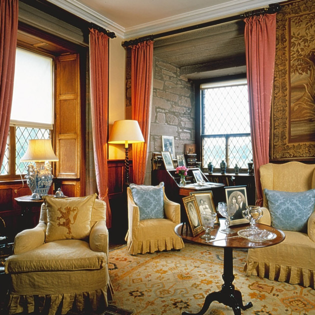 The Queen Mother's Sitting Room is kept just as it was when the young Elizabeth and her new husband visited for their holidays between 1923 and 1939.  Image courtesy Glamis Castle