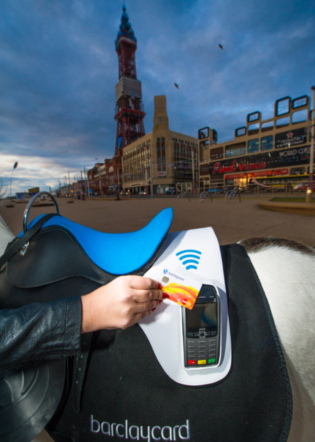 No ready cash? No matter with Britain's first cashless donkey rides! Dillon the donkey has been given the world's first contactless payment saddle