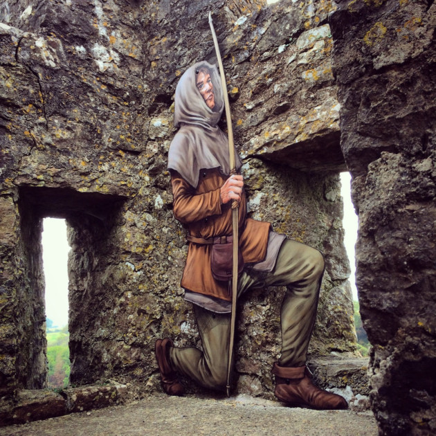 A castle character waits to surprise visitors at Pembroke Castle