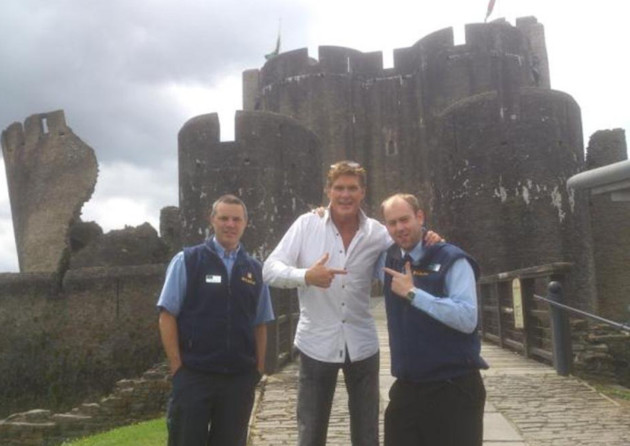 The Hoff at Caerphilly Castle