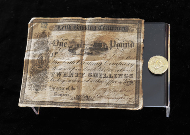 20 shilling (one pound) Leith Banking Company bank note which was issued in 1833. © Crown Copyright reproduced courtesy of Historic Scotland.