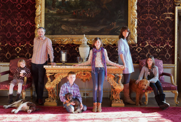 Lord Thomas and Lady Polly Coke with their chidren, right, Juno, centre, Hermione and Edward and left, Elizabeth