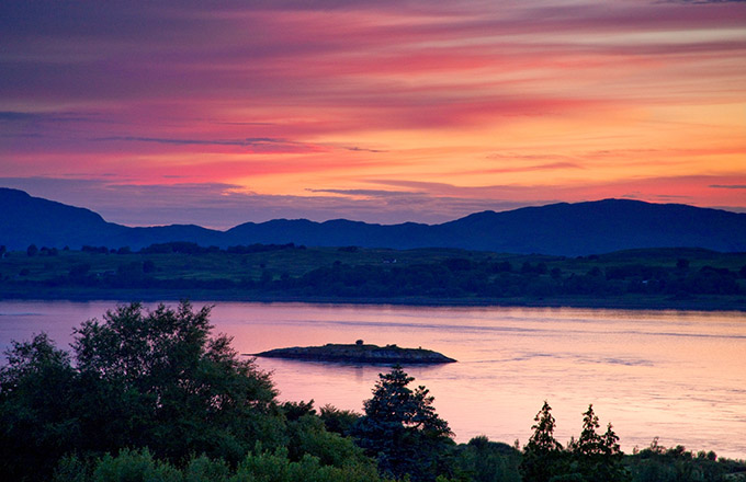 A beautiful sunset from the Isle of Eriska