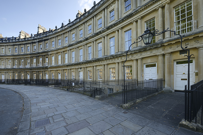 The city of Bath is a UNESCO world heritage site, and a popular tourist destination. There are Georgian buildings in honey coloured Bath stone in long sweeping terraces.
