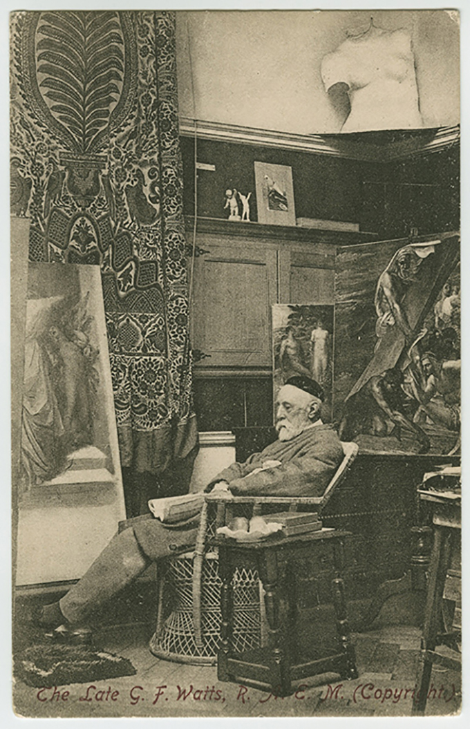 GF Watts in his studio, the Illustrated London News, 1893. Credit: Watts Studio