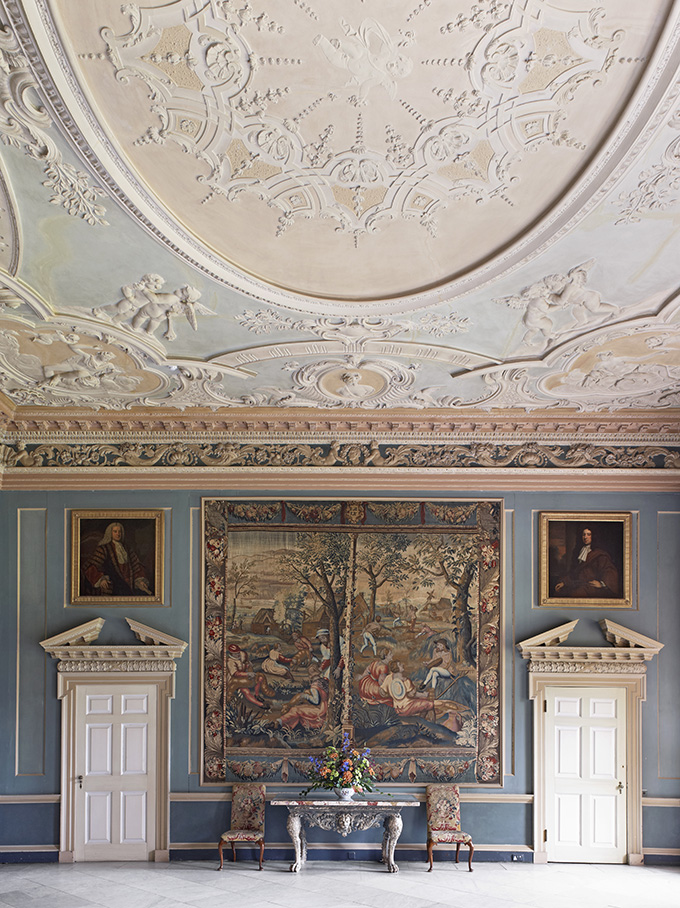 The Saloon, showing the ceiling, at Clandon Park, Surrey. Credit: National Trust Images/Anthony Parkinson