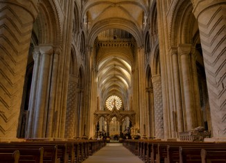 The Norman nave of Durham Cathedral, a World Heritage Site, Durham, County Durham, England, UK.