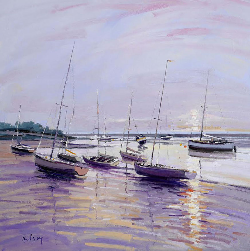 Boats in the Evening Light, Norfolk. Oil on canvas. Credit: Robert Kelsey