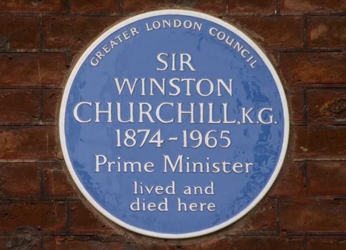 Churchill, blue plaque, hyde park gate, london