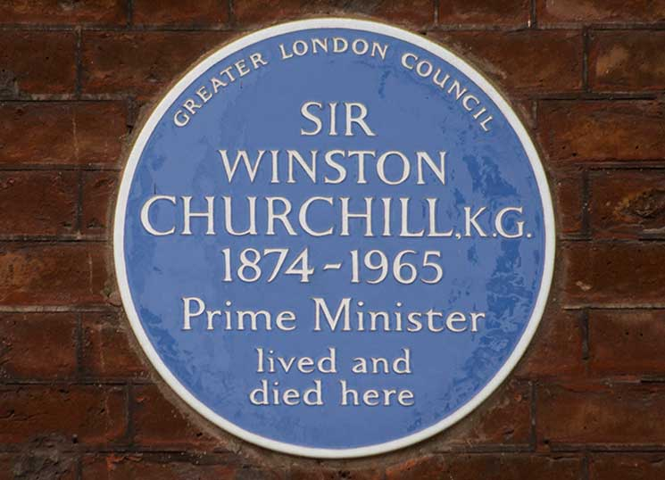 Churchill, blue plaque, hyde park gate, london
