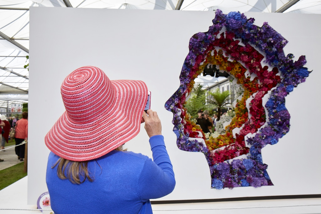 The Queen's silhouette at Chelsea Flower Show 201