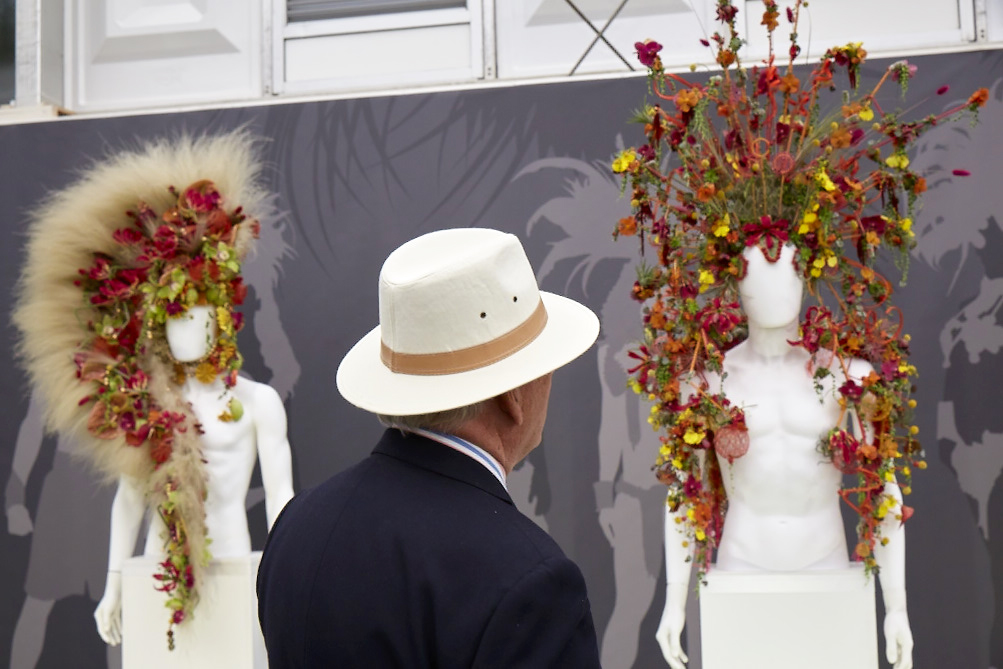 Floral headwear at the Chelsea Flower Show 2016