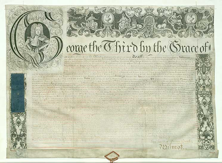 K1778 - Royal patent for Theatre Royal, Bristol, courtesy of Bristol Record Office