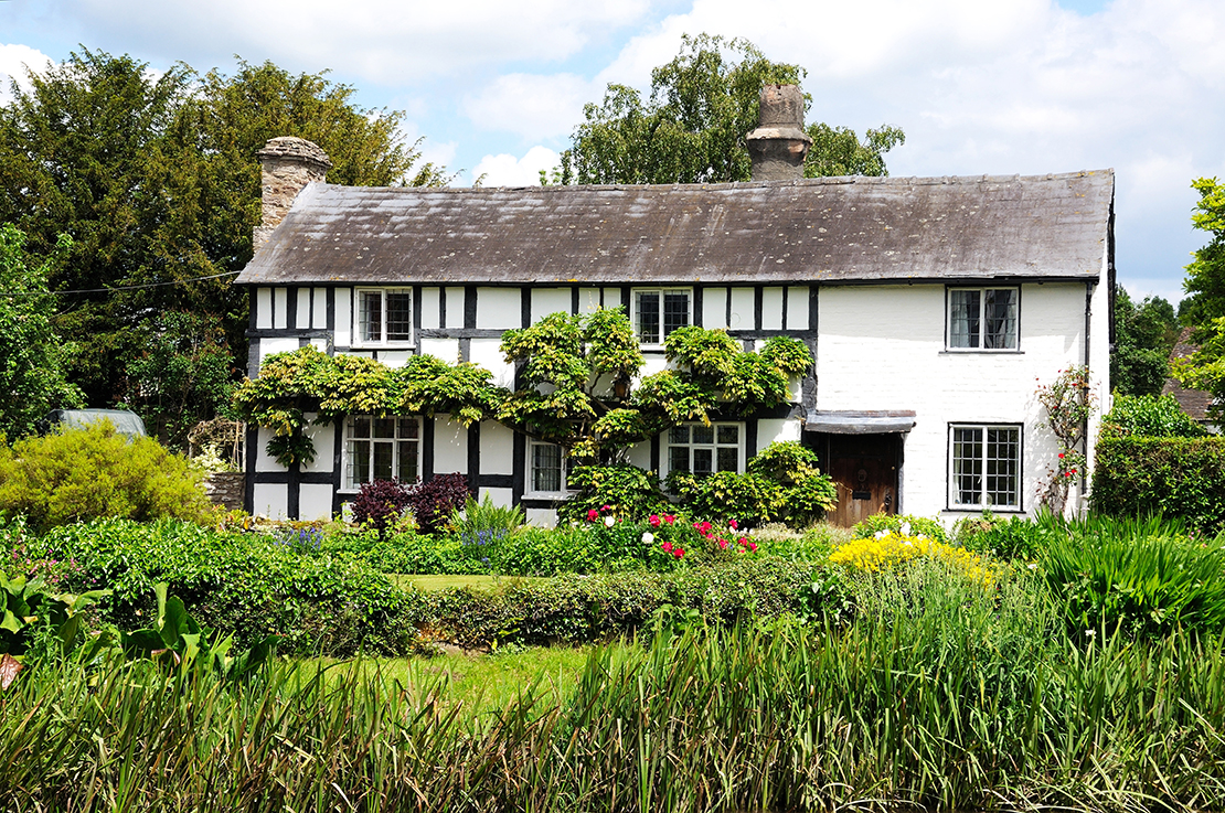 Black and white timbered cottage with pretty gardens, Eardisland, Herefordshire, England, UK, Western Europe.; Shutterstock ID 368582201