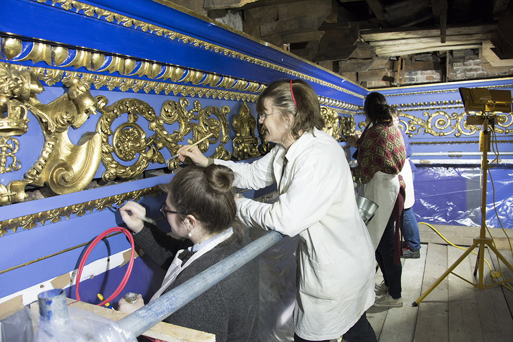 Gilders working in King's Presence Chamber