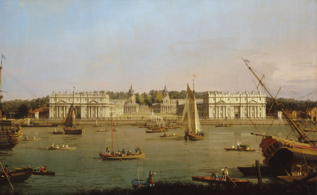 Greenwich Hospital from the North Bank of the Thames, Canaletto, 1750-52, (c) National Maritime Museum, London