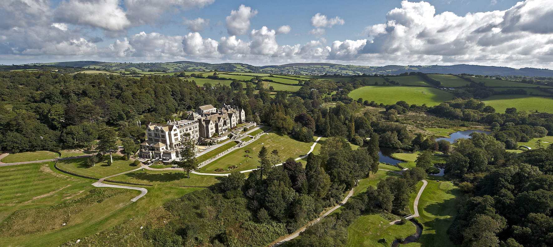 webBovey Castle cropped summer aerial shot