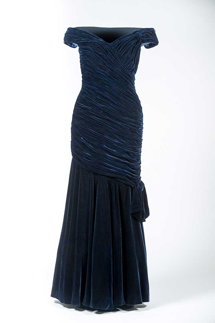 Victor Edelstein's blue velvet gown worn when the Princess danced with John Travolta. Credit: SWNS.com
