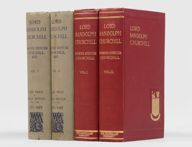 First-edition copies of Lord Randolph Churchill in two volumes by Winston Churchill