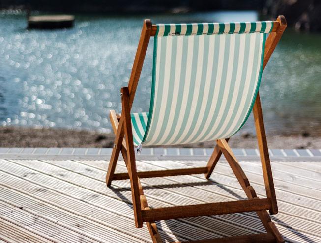 Deckchair overlooking Mermaid Pool, Burgh Island. Credit: www.richarddowner.com