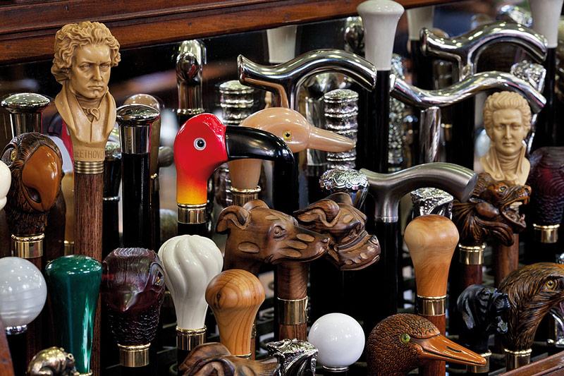 Cane Handles in James Smith & Sons Umbrella shop, London. Credit: Jorge Royan/Alamy