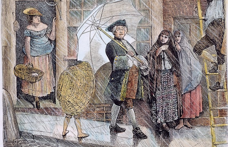 The first umbrella, used by Jonas Hanway of London: wood engraving, 1871. Credit: Granger Historical Picture Archive/Alamy