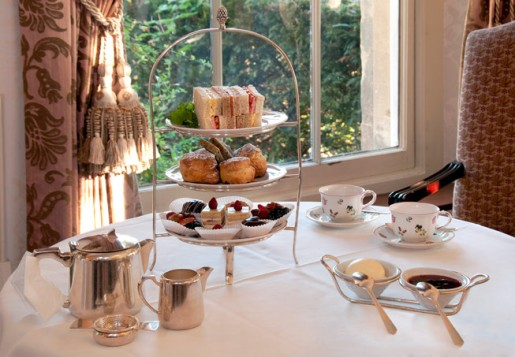 Enjoy a full English afternoon tea served in the Library or Drawing Room overlooking the gardens, or if it's fine weather on the terrace