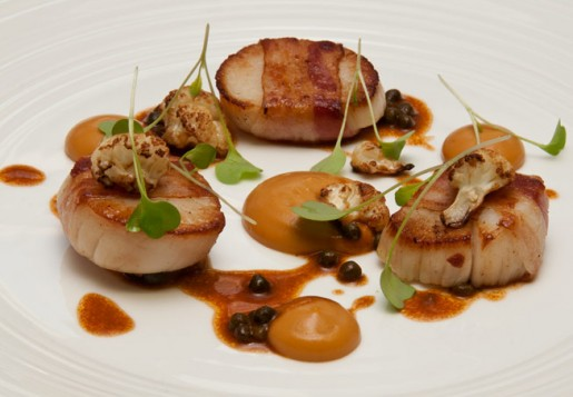 Scottish diver scallops at Lucknam Park, Chippenham