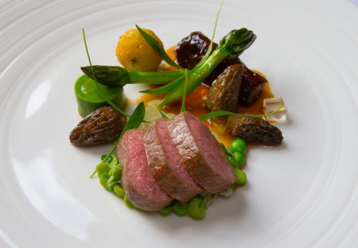 Andrew Morgan�s Brecon lamb, Spring peas, Wye Valley asparagus and morels at Restaurant Hywel Jones by Lucknam Park
