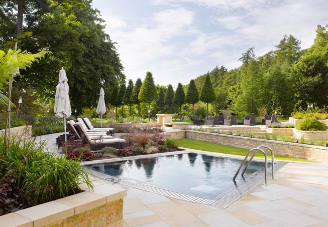 The spa garden at Lucknam Park