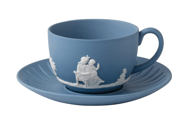Jasperware pale blue teacup and saucer. Jasperware was created by Josiah Wedgwood in 1773. Credit: Images courtesy of Wedgwood