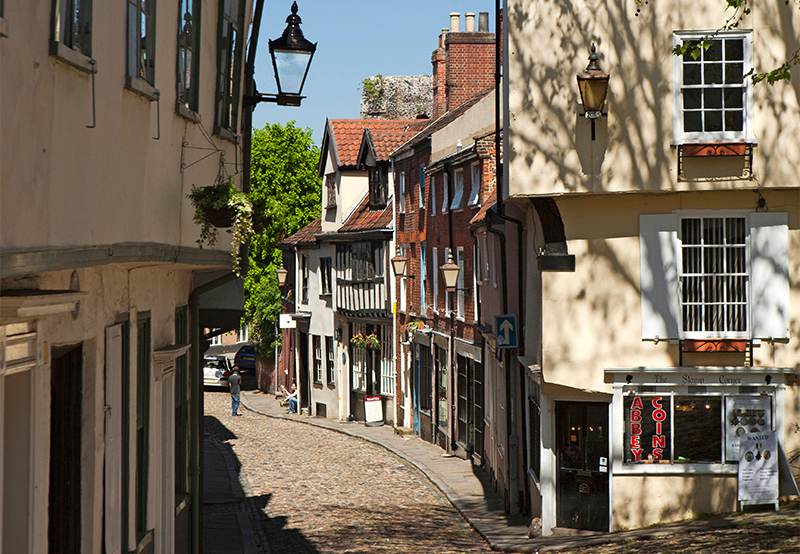 Elm Hill, medieval cobbled street with timber framed houses