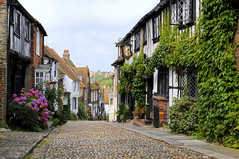 The famous Mermaid street in the old town of Rye, East Sussex, England, UK, Europe