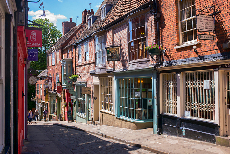 Shops and buildings, Steep Hill, Lincoln, Lincolnshire, England