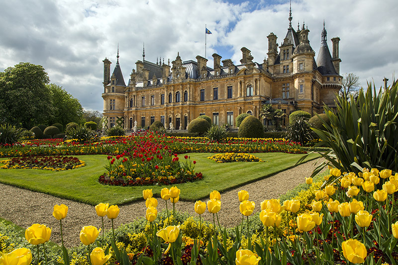 The house and garden at Waddesdon Manor, Buckinghamshire