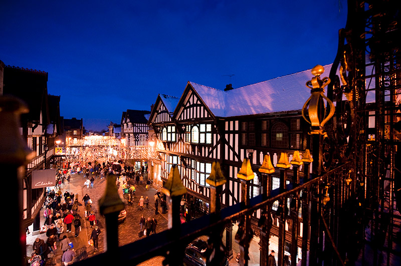Shoppers in Castle Square, Chester
