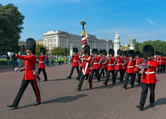 Grenadier Guards march outside Buckingham Palace after Changing the Guard