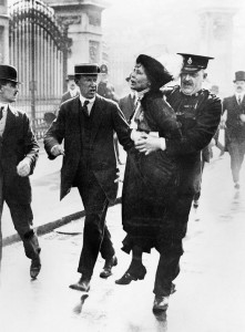 Emmeline Pankhurst is arrested outside Buckingham Palace