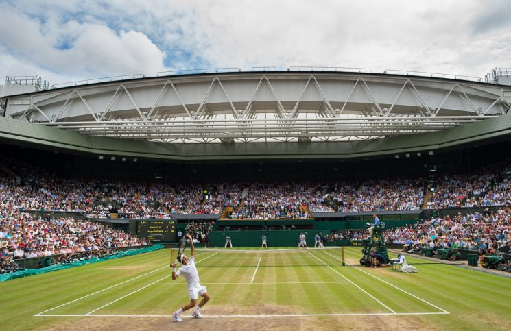 Roger Federer (SUI) playing against Marin Cilic (CRO) in the final of the Gentlemen's Singles on Centre Court. The Championships 2017 at The All England Lawn Tennis Club, Wimbledon. Day 7 Monday 10/07/2017. Credit: AELTC/Thomas Lovelock