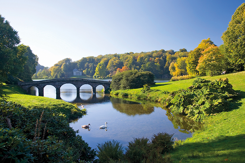 Swans on the lake in front of Palladian bridge, Stourhead Landscape Garden. Credit: David C Tomlinson