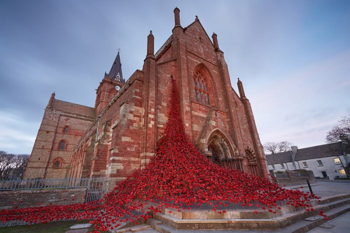 Poppies Weeping Window installation at St Magnus Cathedral, Orkney