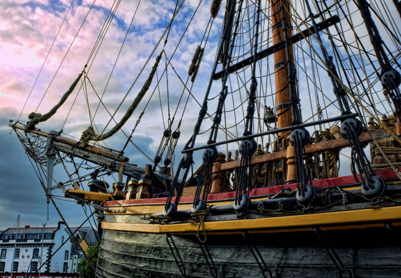 A sailing ship moored in Plymouth harbour, the starting point for The Mayflower's famous voyage. Credit: Visit Britain